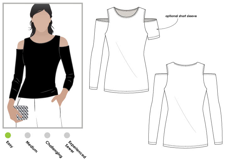 Cold Shoulder Knit Top Sewing Pattern By Style Arc - Knit top with the trendy cut out shoulder feature