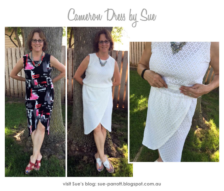 Cameron Dress Sewing Pattern By Sue And Style Arc - On trend pull-on dress with an elastic waist, wrap skirt and interesting hemline
