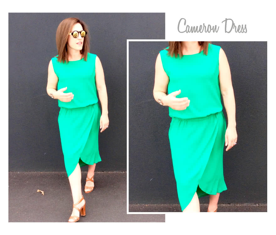 Cameron Dress Sewing Pattern By Style Arc - On trend pull-on dress with an elastic waist, wrap skirt and interesting hemline