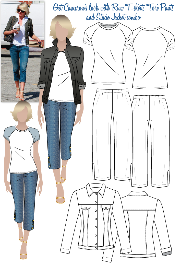 Cameron's Look No.1 Sewing Pattern Bundle By Style Arc - Cameron's Look 1 = Riva T-shirt, Tori Pants & Stacie Jean Jacket
