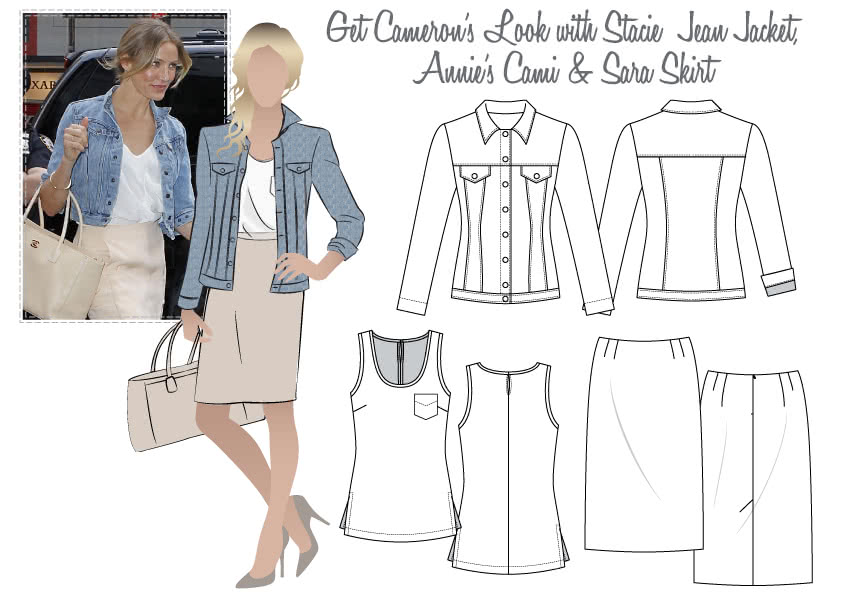 Cameron's Look No.2 Sewing Pattern Bundle By Style Arc - Stacie Jean Jacket, Annie's Cami & Sara Skirt