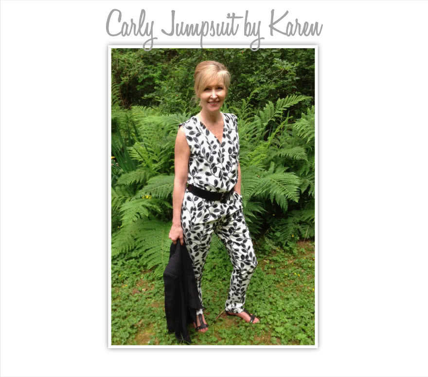 Carly Jumpsuit Sewing Pattern By Karen And Style Arc - Fashionable yet comfortable woven jumpsuit with elastic waist