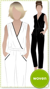 Carly Jumpsuit Sewing Pattern By Style Arc - Fashionable yet comfortable woven jumpsuit with elastic waist