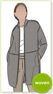 Casey Coat Sewing Pattern By Style Arc - Three quarter length slight cocoon shaped coat with a zip front opening
