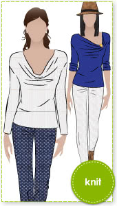 Cate's Cousin Top Sewing Pattern By Style Arc - Cowl neck top with long sleeve and fashionable hemline