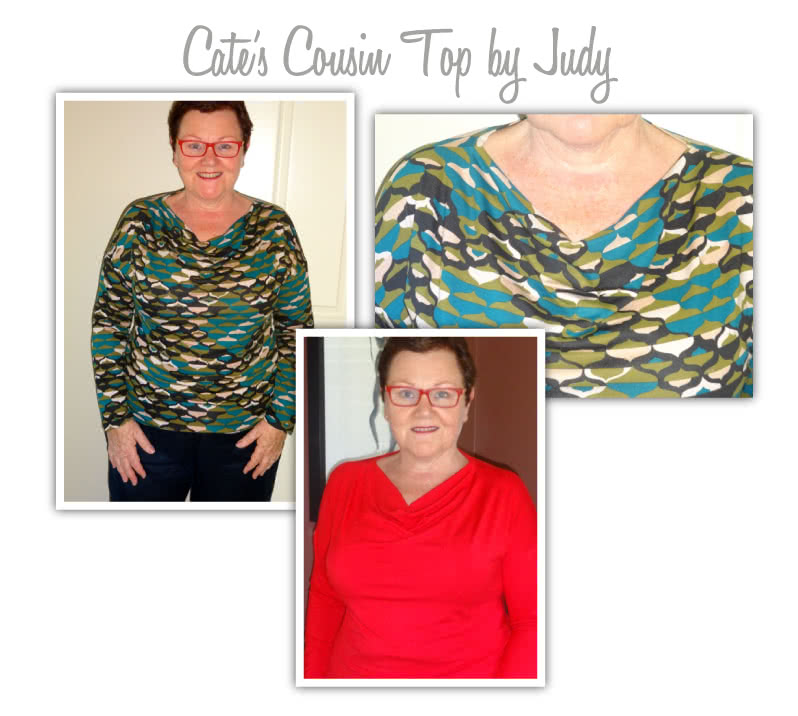 Cate's Cousin Top Sewing Pattern By Judy And Style Arc - Cowl neck top with long sleeve and fashionable hemline