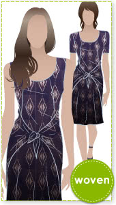 Celine Dress Sewing Pattern By Style Arc - Slip on dress with fashionable tie front