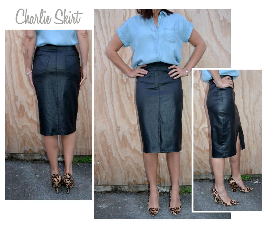 Charlie Stretch Woven Skirt Sewing Pattern By Style Arc - Pull on stretch woven jean skirt with hidden elastic waist