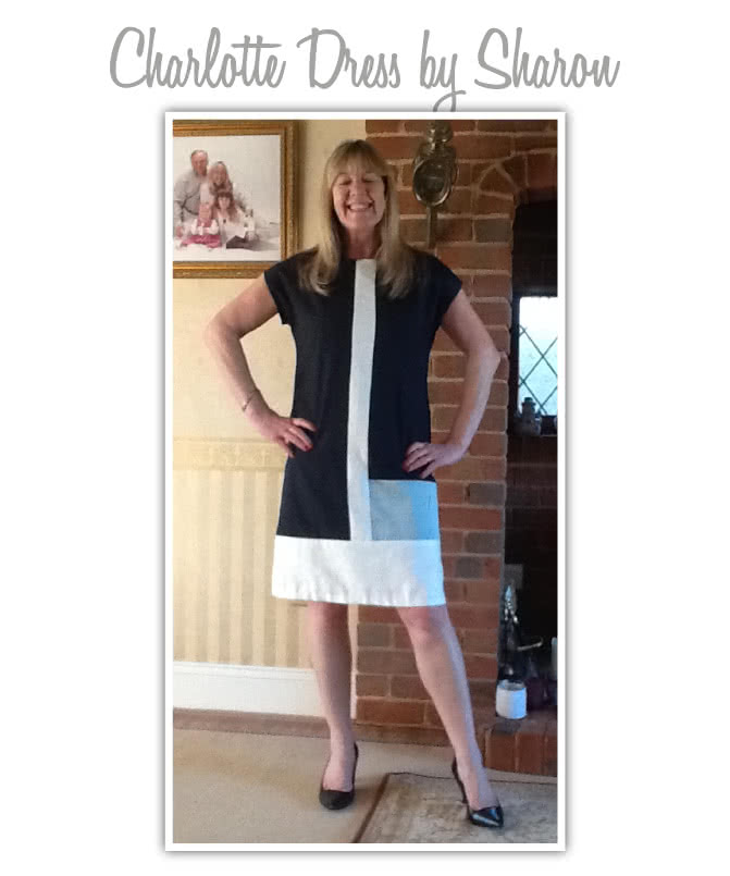 Charlotte Dress Sewing Pattern By Sharon And Style Arc - Trendy colour-blocked woven shift dress with short sleeve