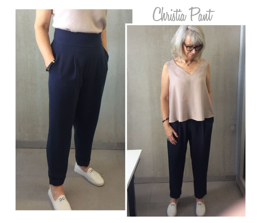 Christia Pant Sewing Pattern By Style Arc - Pleat front, crop pant featuring a wide waistband and cuffs