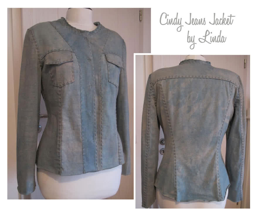 Cindy Jeans Jacket Sewing Pattern By Linda And Style Arc - Fabulous slightly fitted stretch jeans jacket
