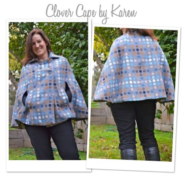 """Clover Cape Sewing Pattern By Karen And Style Arc - Fabulous """"On Trend"""" fully lined Cape"""