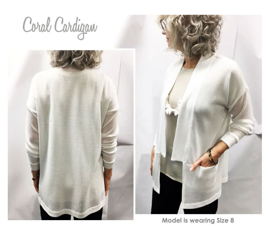 Coral Cardigan Sewing Pattern By Style Arc - Square shaped cardigan with inseam pockets and on trend neck band