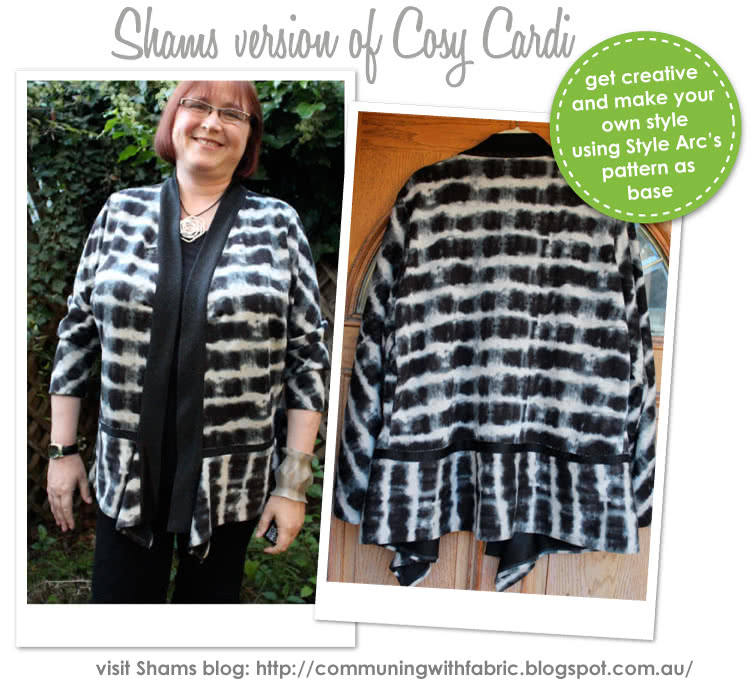 Cosy Cardi Sewing Pattern By Shams And Style Arc - Great basic knit cardigan