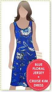 Cruise Kim Dress + Blue Floral Print Jersey Sewing Pattern Fabric Bundle By Style Arc - Cruise Club Kim Dress pattern + Blue Floral print jersey fabric