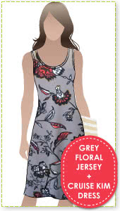 Cruise Kim Dress + Grey Floral Print Jersey Sewing Pattern Fabric Bundle By Style Arc - Cruise Club Kim Dress pattern + Grey Floral print jersey fabric