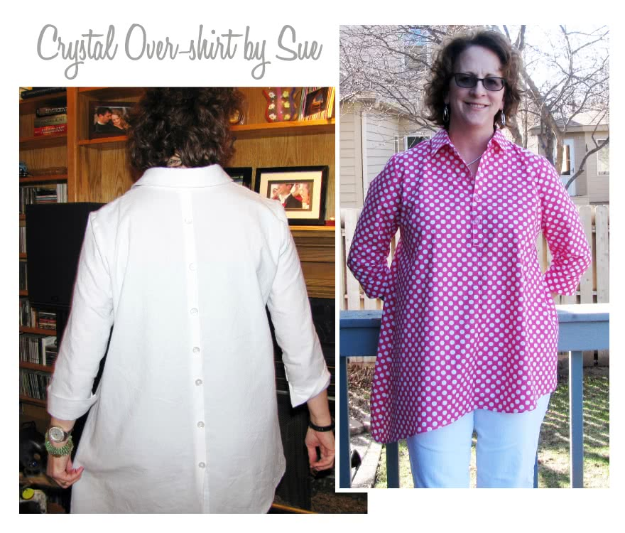 Crystal Over-Shirt Sewing Pattern By Sue And Style Arc - Asymmetrical hem over shirt with an on-trend back treatment