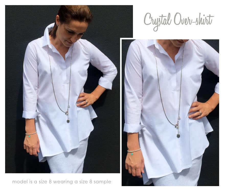 Crystal Over-Shirt Sewing Pattern By Style Arc - Asymmetrical hem over shirt with an on-trend back treatment