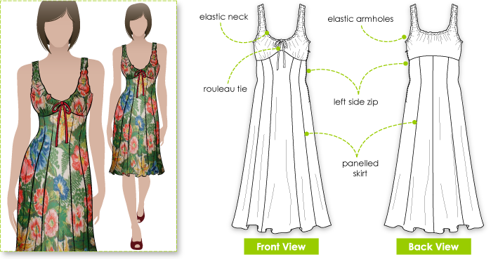 Sophia Dress Sewing Pattern By Style Arc - Lovely summer dress with peasant bodice