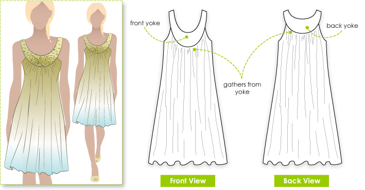 Audrey Dress Sewing Pattern By Style Arc - Versatile flowing dress with deep contrast yoke