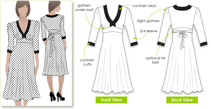 Anna Dress Sewing Pattern By Style Arc - A good basic pull on dress
