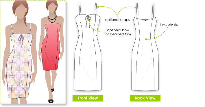 Teena Dress Sewing Pattern By Style Arc - Body fitting dress with optional straps