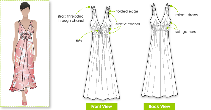 Mardi Dress Sewing Pattern By Style Arc - Pretty easy to wear party dress in satin