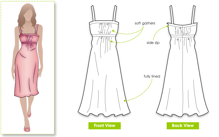Chrissy Dress Sewing Pattern By Style Arc - Beautiful dress with soft gathers at front