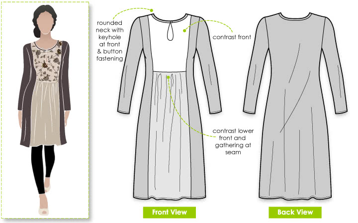 Libby Dress Sewing Pattern By Style Arc - Simple pull on dress with contrast yoke & sleeves