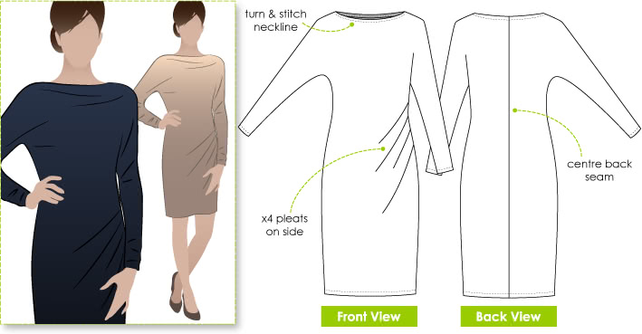 Danni Dolman Sewing Pattern By Style Arc - Dolman sleeved stylish jersey slip on dress