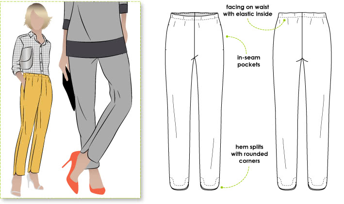 Darcy Woven Pant Sewing Pattern By Style Arc - Slimline elastic waist pant with interesting hemline