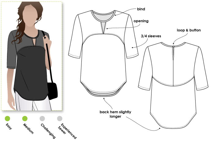 Dixie Woven Top Sewing Pattern By Style Arc - On trend top with open neck feature & high/low hem