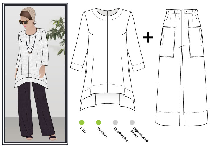 Double Daisy Tunic + Pant Outfit Sewing Pattern Bundle By Style Arc - Double Daisy - Designer tunic-top & pant outfit