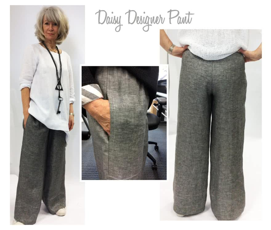 Daisy Designer Pant Sewing Pattern By Style Arc - Wide-leg pull-on pant with patch pockets