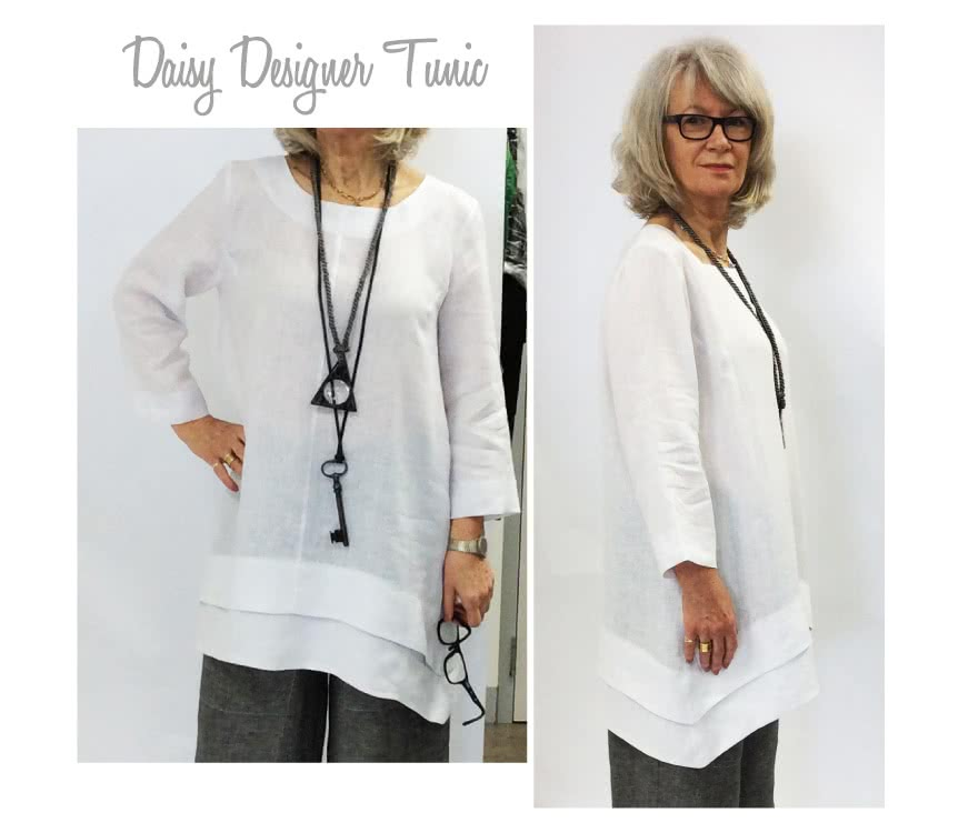 Daisy Designer Tunic Sewing Pattern By Style Arc - Interesting tunic top fabulous angled hems and side pockets