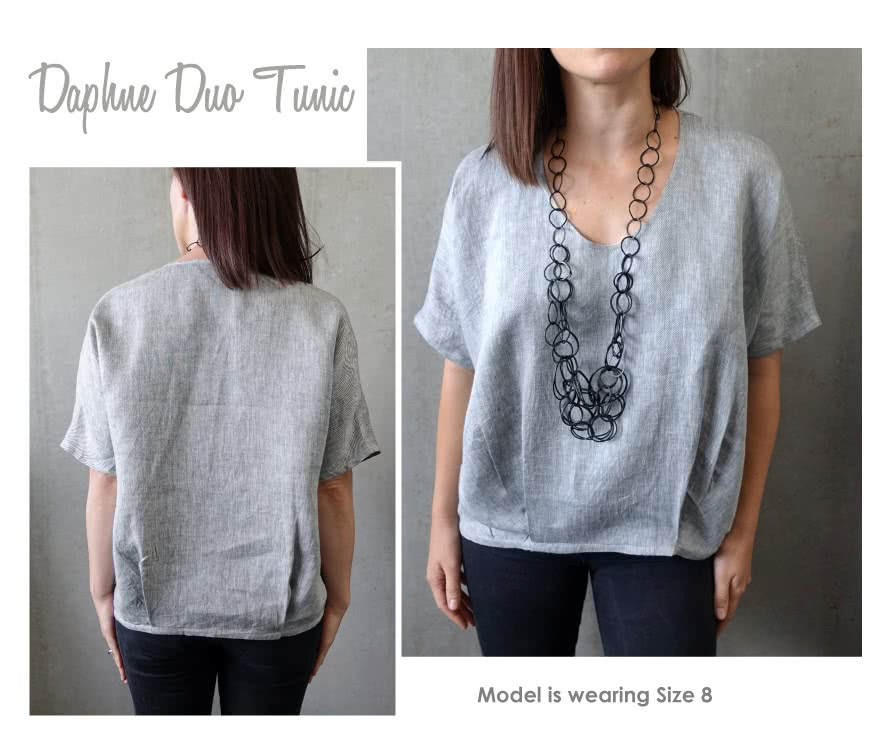 Daphne Duo Tunic Sewing Pattern By Style Arc - Fabulous new cocoon shape tunic top with hem tucks