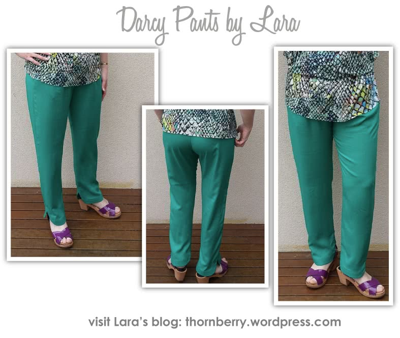 Darcy Woven Pant Sewing Pattern By Lara And Style Arc - Slimline elastic waist pant with interesting hemline