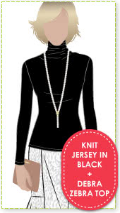 Debra Zebra + Knit Jersey In Black Sewing Pattern Fabric Bundle By Style Arc - Debra Zebra top + knit jersey in Black bundle
