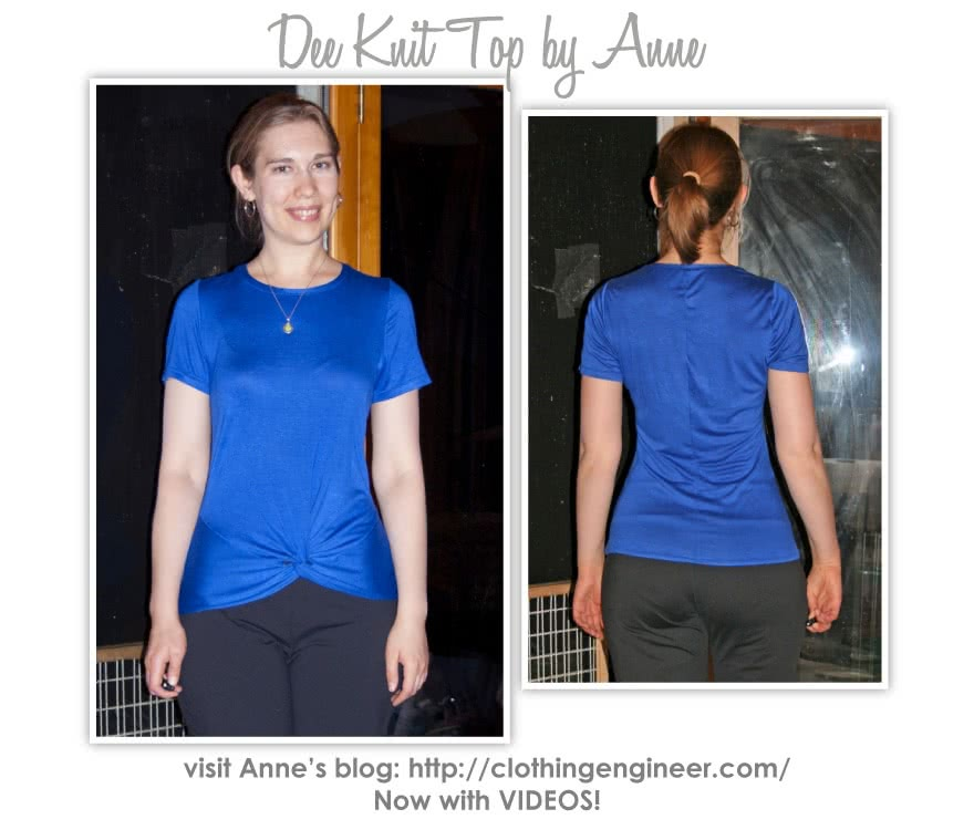 """Dee Knit Top Sewing Pattern By Anne And Style Arc - Fashionable knot front """"T"""" top"""