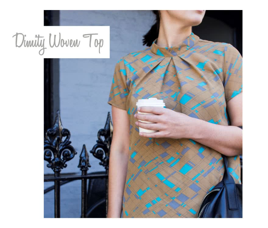 Dimity Woven Top Sewing Pattern By Style Arc - Unique woven top with tucks falling from stand collar