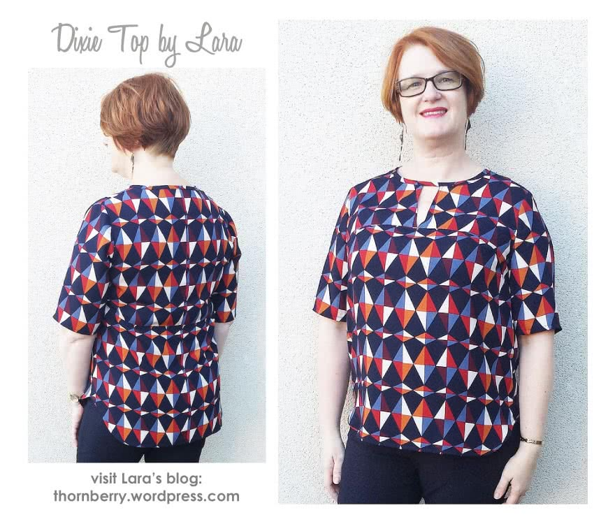 Dixie Woven Top Sewing Pattern By Lara And Style Arc - On trend top with open neck feature & high/low hem