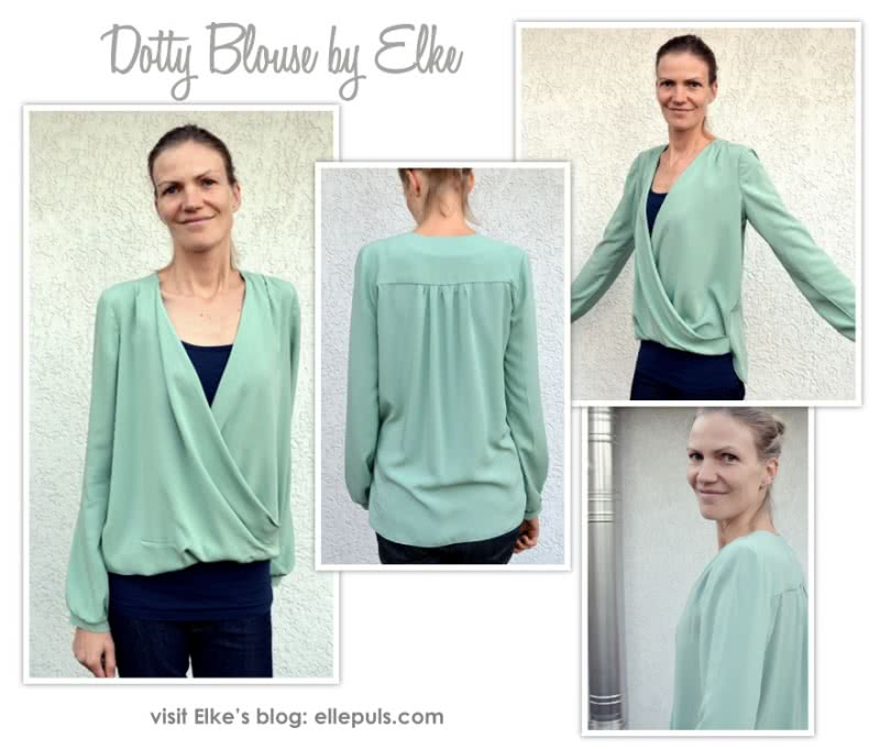 Dotty Blouse Sewing Pattern By Elke And Style Arc - A new twist on the wrap top, this is a very flattering and easy to wear top