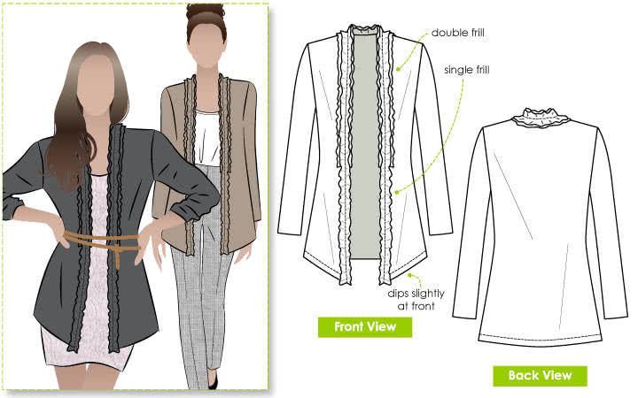 Ella Frill Knit Cardi Sewing Pattern By Style Arc - Casual knit cardi with front double frill trim