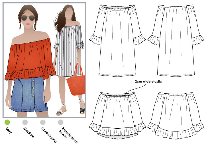 Ellie-Mae Tunic Top Sewing Pattern By Style Arc - Fashionable, off the shoulder top/tunic dress