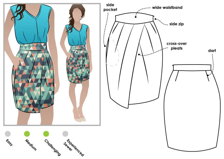 3f2600c838 Emily Skirt Sewing Pattern By Style Arc - Tulip shaped skirt with shaped  waistband