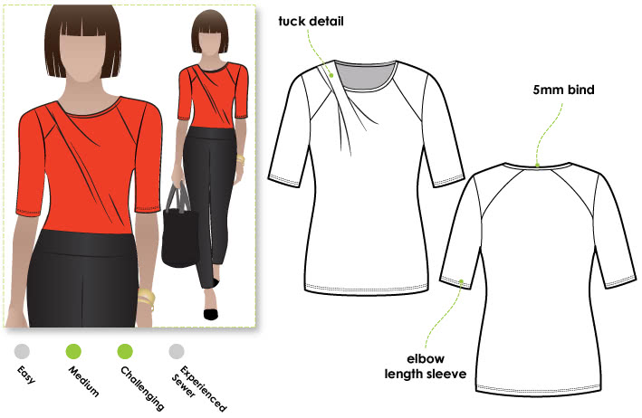 Emily Knit Top Sewing Pattern By Style Arc - Knit top with a twist pleat neckline