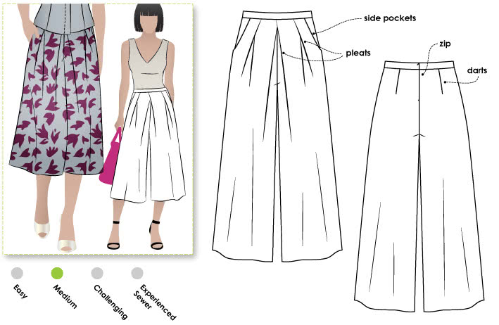Erin Woven Culottes Sewing Pattern By Style Arc - Pleat front culottes with angled pockets