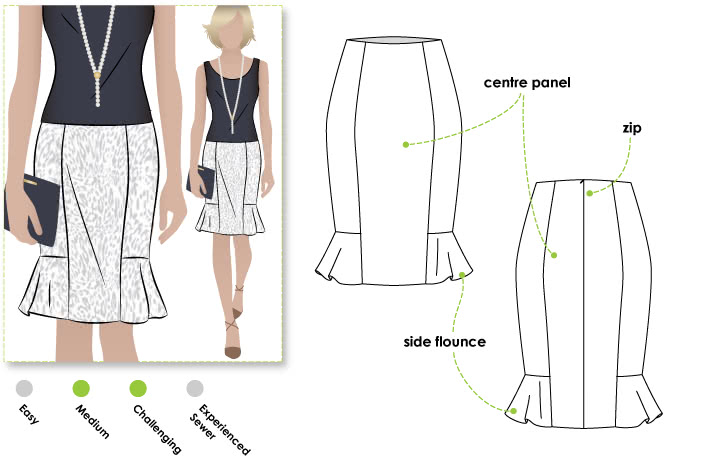Etta Skirt Sewing Pattern By Style Arc - Pencil skirt with side hem flounce