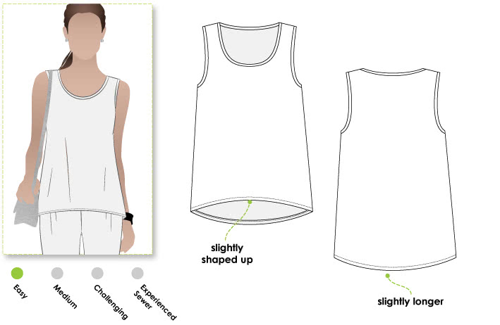 Evie Knit Top Sewing Pattern By Style Arc - Knit tank top with a shaped hemline