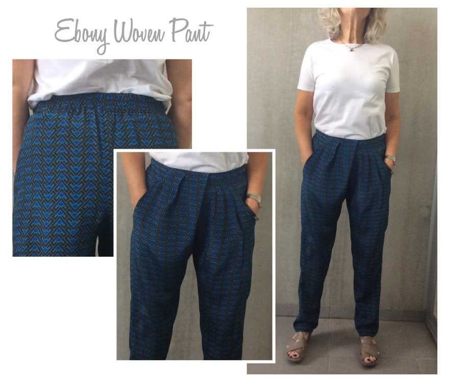 Ebony Woven Pant Sewing Pattern By Style Arc - Stylish pleated pull on pant